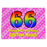 [ Thumbnail: 66th Birthday: Pink Stripes & Hearts, Rainbow # 66 Gift Bag ]