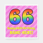 [ Thumbnail: 66th Birthday: Pink Stripes & Hearts, Rainbow # 66 Napkins ]
