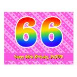 [ Thumbnail: 66th Birthday: Pink Stripes & Hearts, Rainbow 66 Postcard ]