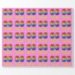 [ Thumbnail: 66th Birthday: Pink Stripes & Hearts, Rainbow # 66 Wrapping Paper ]