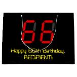 "[ Thumbnail: 66th Birthday: Red Digital Clock Style ""66"" + Name Gift Bag ]"