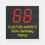 "[ Thumbnail: 66th Birthday: Red Digital Clock Style ""66"" + Name Napkins ]"