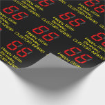 "[ Thumbnail: 66th Birthday: Red Digital Clock Style ""66"" + Name Wrapping Paper ]"