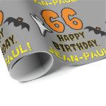 [ Thumbnail: 66th Birthday: Spooky Halloween Theme, Custom Name Wrapping Paper ]