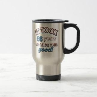66th year birthday designs 15 oz stainless steel travel mug