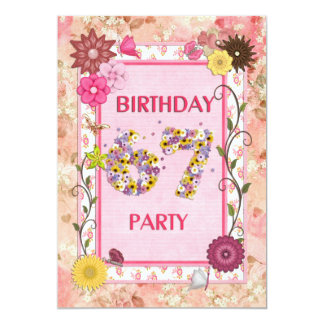 670th birthday party invitation with floral frame