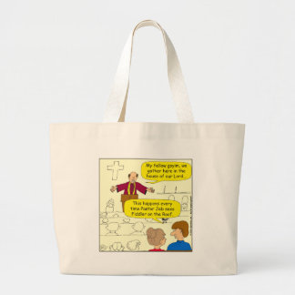 673 Pastor goes to Fiddler Cartoon Jumbo Tote Bag
