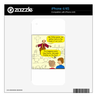 673 Pastor goes to Fiddler Cartoon Decal For The iPhone 4S