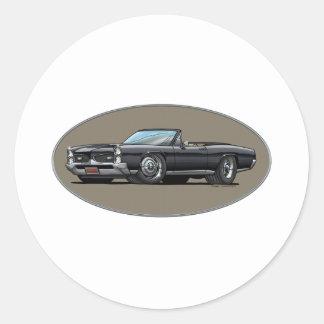 67 GTO_Black_Convt Round Stickers
