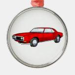 67 Pontiac Firebird Round Metal Christmas Ornament