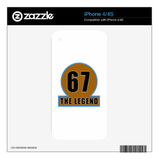 67 The Legend Birthday Designs Decal For iPhone 4S