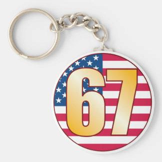 67 USA Gold Basic Round Button Keychain