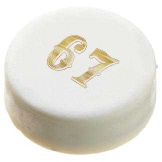 67th Anniversary 67 Birthday Gold White Retirement Chocolate Dipped Oreo