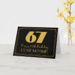 "[ Thumbnail: 67th Birthday: Art Deco Inspired Look ""67"" & Name Card ]"