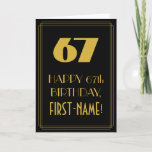 "[ Thumbnail: 67th Birthday ~ Art Deco Inspired Look ""67"" & Name Card ]"