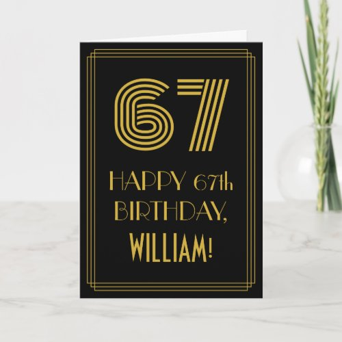 67th Birthday Art Deco Inspired Look 67  Name Card