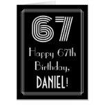 "[ Thumbnail: 67th Birthday — Art Deco Inspired Look ""67"" + Name Card ]"
