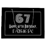 "[ Thumbnail: 67th Birthday — Art Deco Inspired Look ""67"" & Name Gift Bag ]"