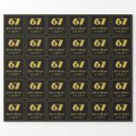 """[ Thumbnail: 67th Birthday – Art Deco Inspired Look """"67"""" & Name Wrapping Paper ]"""