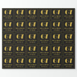 """[ Thumbnail: 67th Birthday ~ Art Deco Inspired Look """"67"""", Name Wrapping Paper ]"""