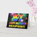 [ Thumbnail: 67th Birthday: Bold, Fun, Fireworks, Rainbow 67 Card ]