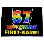 [ Thumbnail: 67th Birthday: Bold, Fun, Simple, Rainbow 67 Gift Bag ]