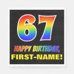 [ Thumbnail: 67th Birthday: Bold, Fun, Simple, Rainbow 67 Napkins ]