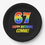 [ Thumbnail: 67th Birthday: Bold, Fun, Simple, Rainbow 67 Paper Plate ]