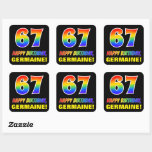 [ Thumbnail: 67th Birthday: Bold, Fun, Simple, Rainbow 67 Sticker ]