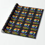 [ Thumbnail: 67th Birthday: Bold, Fun, Simple, Rainbow 67 Wrapping Paper ]