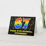 [ Thumbnail: 67th Birthday: Colorful Music Symbols & Rainbow 67 Card ]