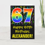 [ Thumbnail: 67th Birthday: Colorful Music Symbols + Rainbow 67 Card ]