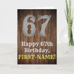 [ Thumbnail: 67th Birthday: Country Western Inspired Look, Name Card ]