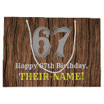 [ Thumbnail: 67th Birthday: Country Western Inspired Look, Name Gift Bag ]