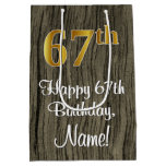 [ Thumbnail: 67th Birthday: Elegant Faux Gold Look #, Faux Wood Gift Bag ]