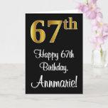 [ Thumbnail: 67th Birthday ~ Elegant Luxurious Faux Gold Look # Card ]