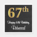 [ Thumbnail: 67th Birthday ~ Elegant Luxurious Faux Gold Look # Napkins ]
