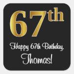 [ Thumbnail: 67th Birthday – Elegant Luxurious Faux Gold Look # Sticker ]