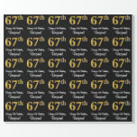 [ Thumbnail: 67th Birthday: Elegant Luxurious Faux Gold Look # Wrapping Paper ]