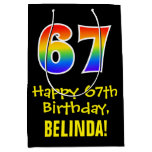 "[ Thumbnail: 67th Birthday: Fun, Bold, Colorful, Rainbow ""67"" Gift Bag ]"