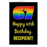 [ Thumbnail: 67th Birthday: Fun, Colorful, Happy, Rainbow # 67 Card ]