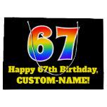 [ Thumbnail: 67th Birthday ~ Fun, Colorful, Vibrant, Rainbow 67 Gift Bag ]
