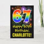 [ Thumbnail: 67th Birthday: Fun Fireworks Pattern + Rainbow 67 Card ]