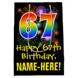 [ Thumbnail: 67th Birthday: Fun Fireworks Pattern + Rainbow 67 Gift Bag ]