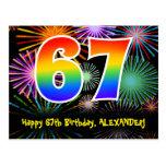 [ Thumbnail: 67th Birthday – Fun Fireworks Pattern + Rainbow 67 Postcard ]
