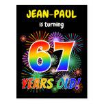 "[ Thumbnail: 67th Birthday - Fun Fireworks, Rainbow Look ""67"" Postcard ]"