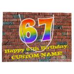 [ Thumbnail: 67th Birthday: Fun, Graffiti-Inspired Rainbow # 67 Gift Bag ]