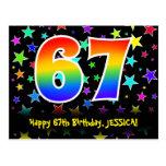 [ Thumbnail: 67th Birthday: Fun Stars Pattern, Rainbow 67, Name Postcard ]