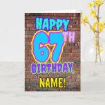 [ Thumbnail: 67th Birthday - Fun, Urban Graffiti Inspired Look Card ]
