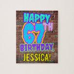 [ Thumbnail: 67th Birthday ~ Fun, Urban Graffiti Inspired Look Jigsaw Puzzle ]